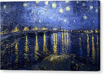 Canvas Print featuring the painting Starry Night Over The Rhone by Vincent Van Gogh