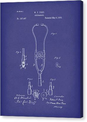 Stethoscope 1882 Patent Art Blue Canvas Print