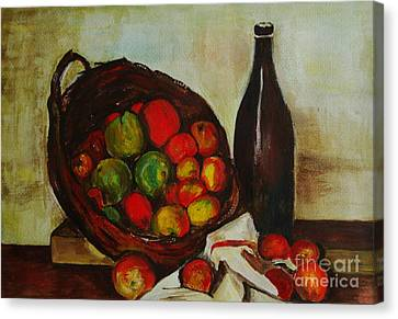 Still Life With Apples After Cezanne - Painting Canvas Print by Veronica Rickard