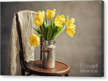 Still Life With Yellow Tulips Canvas Print by Nailia Schwarz