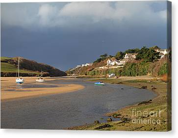 Canvas Print featuring the photograph Storm Approaches The Gannel Estuary Newquay Cornwall by Nicholas Burningham