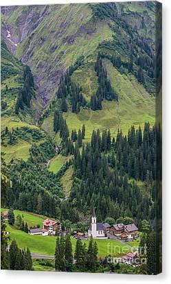 Vorarlberg Canvas Print - Stormy Mountain Village Of Schrocken - Austrian Alps by Gary Whitton