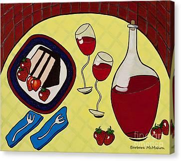 Strawberry Wine Canvas Print by Barbara McMahon