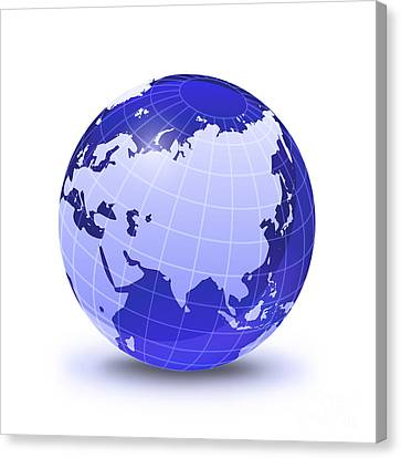Gloss Canvas Print - Stylized Earth Globe With Grid, Showing by Leonello Calvetti