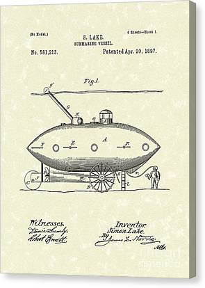 Water Vessels Canvas Print - Submarine 1897 Patent Art by Prior Art Design