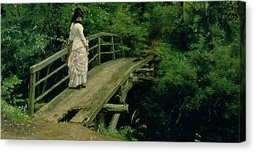 The Wooden Cross Canvas Print - Summer Landscape by Ilya Efimovich Repin