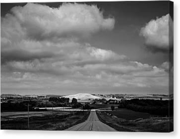 Summer Prairie Landscape Bw Canvas Print