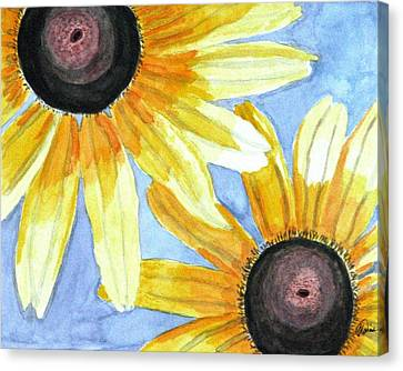 Canvas Print featuring the painting Summer Susans by Angela Davies