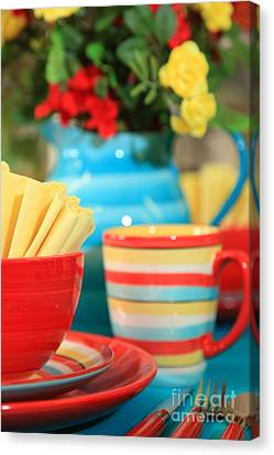 Summer Table Setting Canvas Print by Pattie Calfy