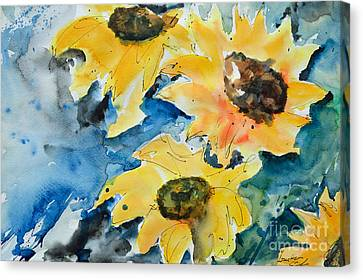 Canvas Print featuring the painting Sunflowers by Ismeta Gruenwald