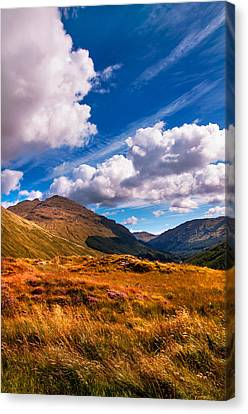 Sunny Day At Rest And Be Thankful. Scotland Canvas Print