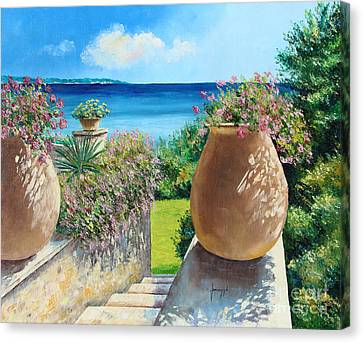Sunny Terrace Canvas Print by Jean-Marc Janiaczyk