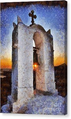 Sunset Behind A Belfry Canvas Print by George Atsametakis