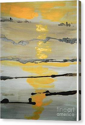 Canvas Print featuring the painting Sunset by Fereshteh Stoecklein