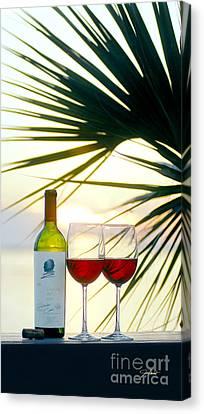 White Wine Canvas Print - Sunset  For Two by Jon Neidert