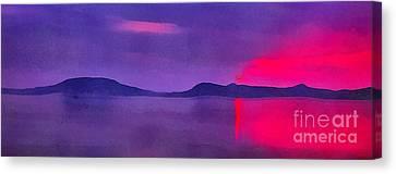 Sunset On Balaton Lake Canvas Print by Odon Czintos