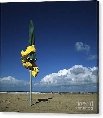 Sunshades On The Beach. Deauville. Normandy. France. Europe Canvas Print by Bernard Jaubert
