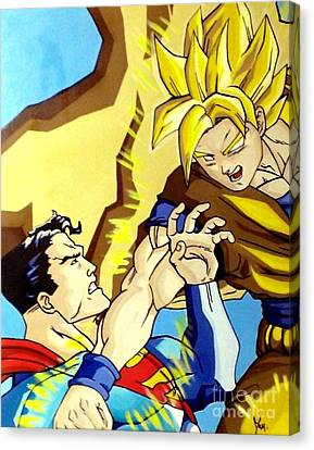Super Man Vs Goku Canvas Print