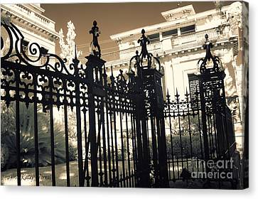 Surreal Gothic Savannah Mansion Iron Gates Canvas Print by Kathy Fornal