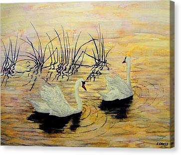 Swans Canvas Print by Svetla Dimitrova