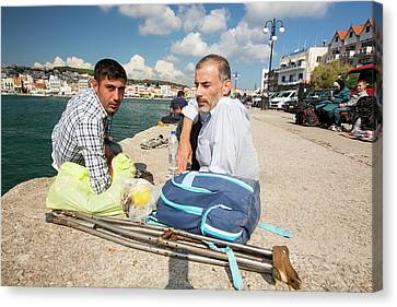 Crutch Canvas Print - Syrian Refugee by Ashley Cooper