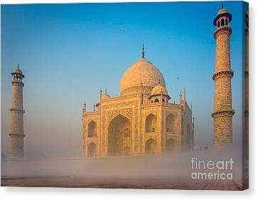Tomb Canvas Print - Taj Mahal In The Mist by Inge Johnsson