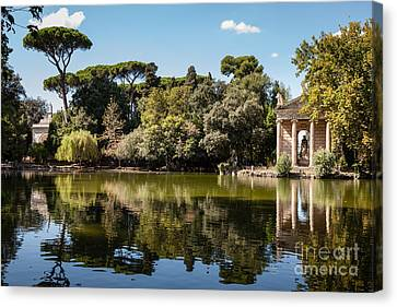 Temple Of Aesculapius And Lake In The Villa Borghese Gardens In  Canvas Print by Peter Noyce