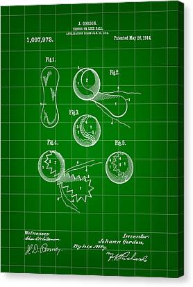 Tennis Ball Patent 1914 - Green Canvas Print