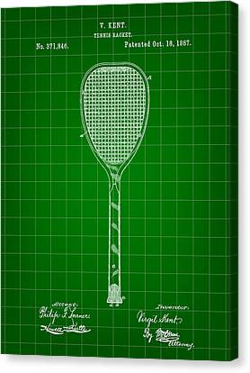 Tennis Racket Patent 1887 - Green Canvas Print by Stephen Younts