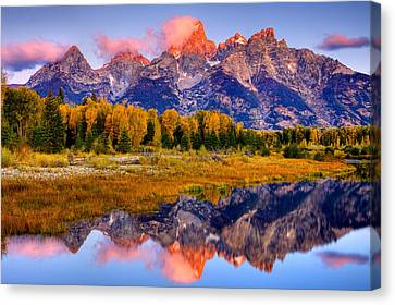Tetons Reflection Canvas Print by Aaron Whittemore