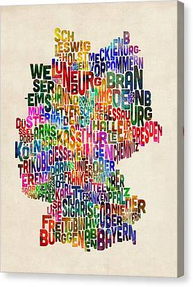Map Art Canvas Print - Text Map Of Germany Map by Michael Tompsett