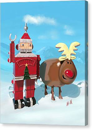Kevin Hill Canvas Print - The Adventures Of Oh Deer And Robo Santa by Kevin Hill