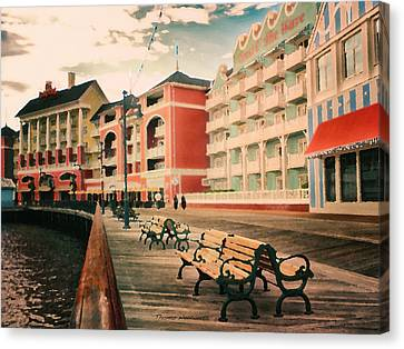 The Boardwalk At Walt Disney World Pa Canvas Print by Thomas Woolworth