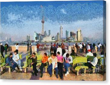 Eastern Canvas Print - The Bund In Shanghai by George Atsametakis