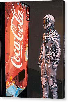 Canvas Print featuring the painting The Coke Machine by Scott Listfield