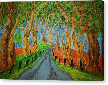 The Dark Hedges Canvas Print by Paul Morgan