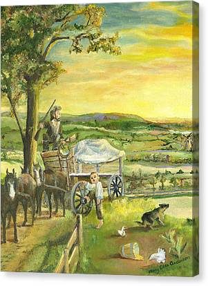 Canvas Print featuring the painting The Farm Boy And The Roads That Connect Us by Mary Ellen Anderson