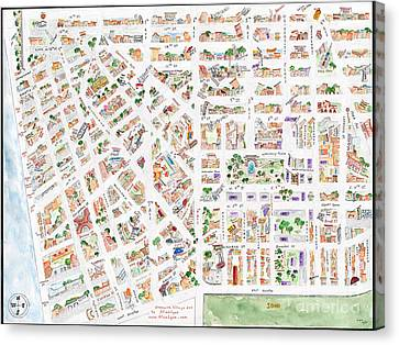 The Greenwich Village Map Canvas Print by AFineLyne