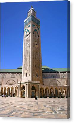 Canvas Print featuring the photograph The Hassan II Mosque Grand Mosque With The Worlds Tallest 210m Minaret Sour Jdid Casablanca Morocco by Ralph A  Ledergerber-Photography