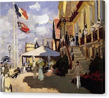 Front Steps Canvas Print - The Hotel Des Roches Noires At Trouville by Claude Monet