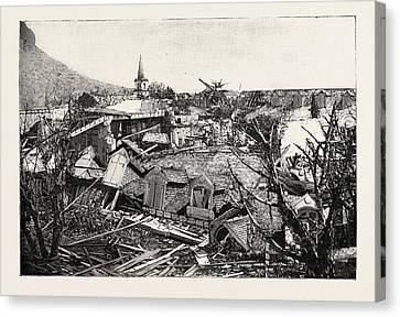 The Hurricane In Mauritius Views Of The Ruins In Port Louis Canvas Print by Mauritian School