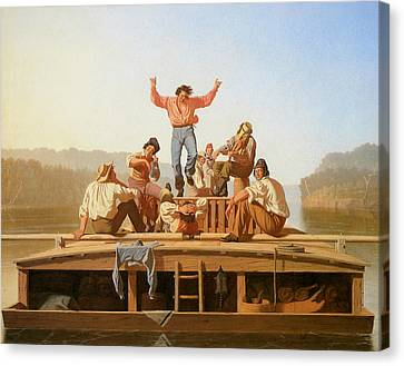 The Jolly Flatboatmen Canvas Print by George Caleb Bingham