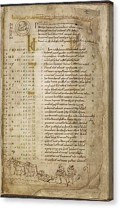 The Julius Calendar And Hymnal Canvas Print by British Library