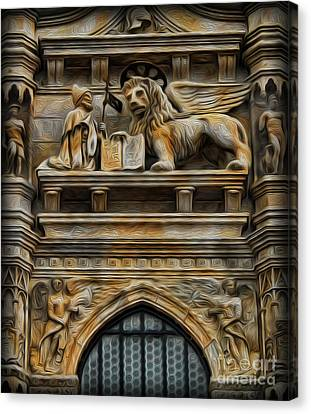 The Lion Of Venice Canvas Print by Lee Dos Santos
