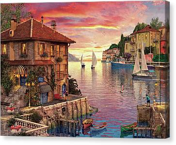 The Mediterranean Harbour Canvas Print by Dominic Davison