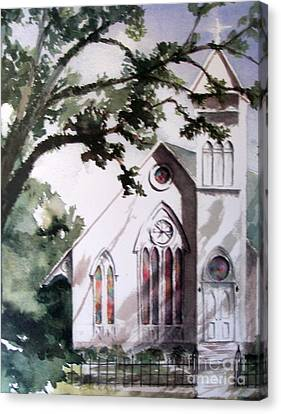Canvas Print featuring the painting The Old Church by Mary Lynne Powers