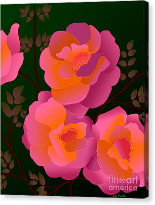Canvas Print featuring the digital art The Scent Of Roses by Latha Gokuldas Panicker