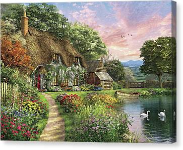 Cottages Canvas Print - The Sunset Cottage by Dominic Davison