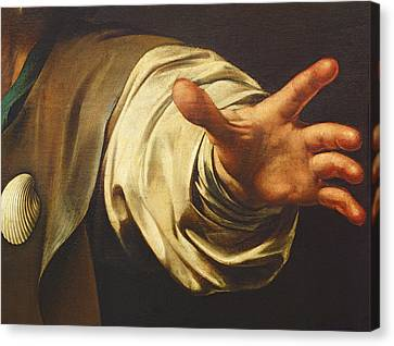 Fingertips Canvas Print - Detail From The Supper At Emmaus by Michelangelo Merisi da Caravaggio