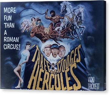 1960 Movies Canvas Print - The Three Stooges Meet Hercules by Official Three Stooges